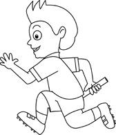 Kid Running Clipart Black And White.