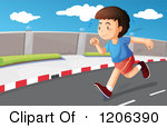 Boy on road clipart.