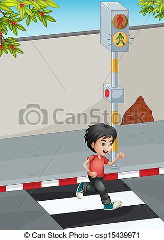 Vectors Illustration of A boy running while crossing the street.