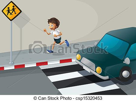 Clipart Vector of A man running at the road with a car.