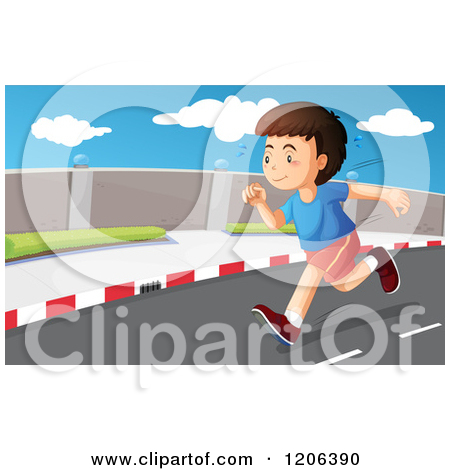 Cartoon of a Boy Running on a Road.