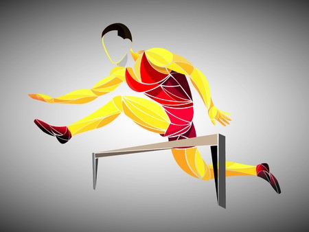 Runner, jogging, sprinter. Athlete vector, train running.
