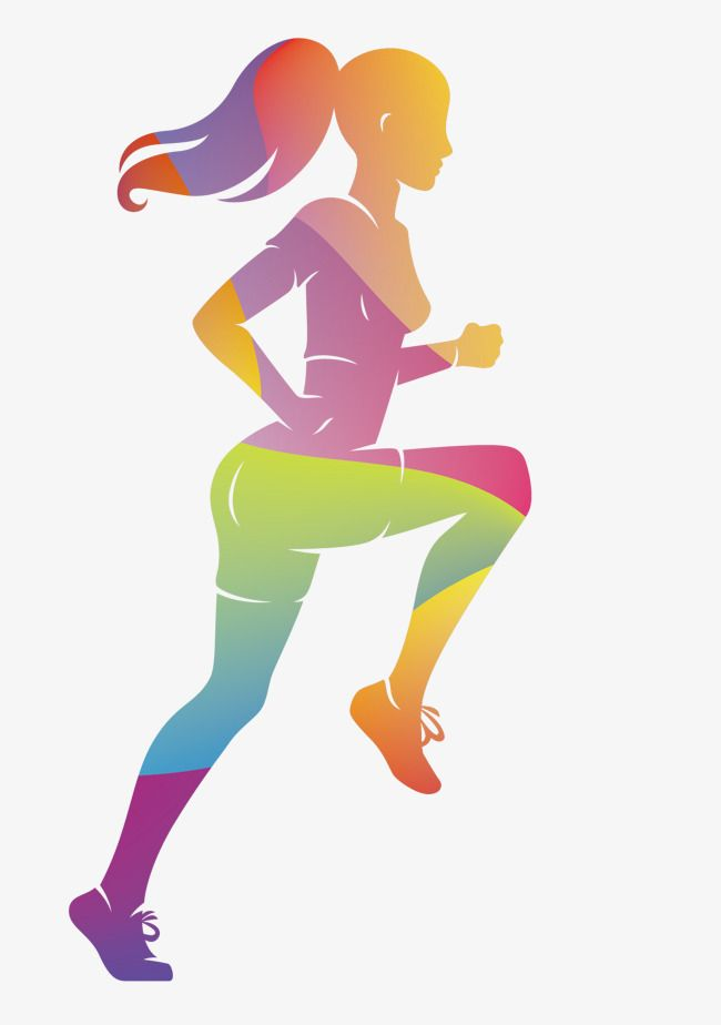 Vector Colorful Women Sports Runners, Sports Clipart, Vector.