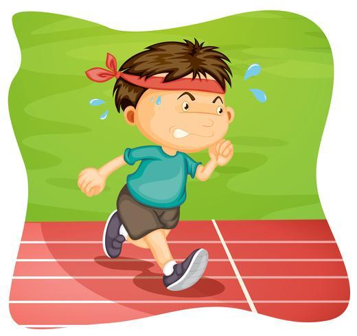 A Boy Running on Running Track.