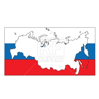 Russia map silhouette over flag Vector Image #273.