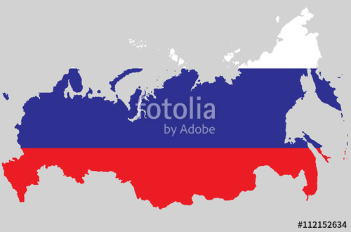 Vector Russian Federation topographic map. Russia flag on borders.