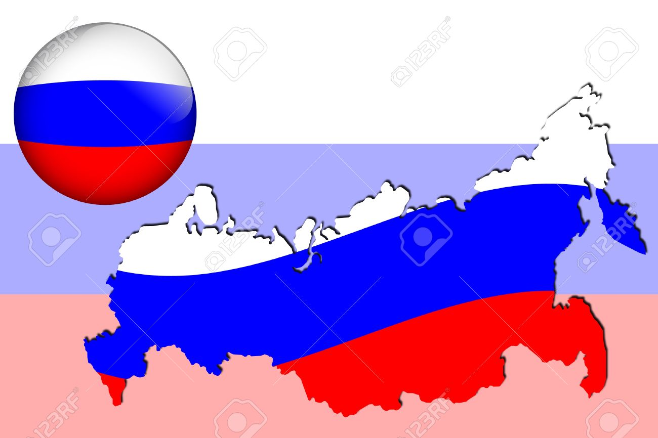 Russia Map And Glossy Ball With Flag Pattern Royalty Free Cliparts.
