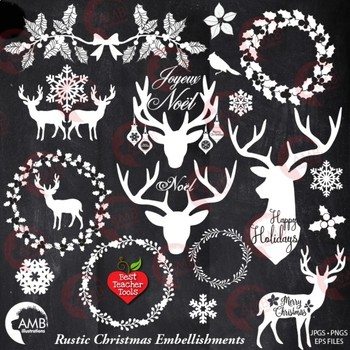Christmas Clipart, Antler Clip Art, Deer Clipart, Rustic Christmas AMB.
