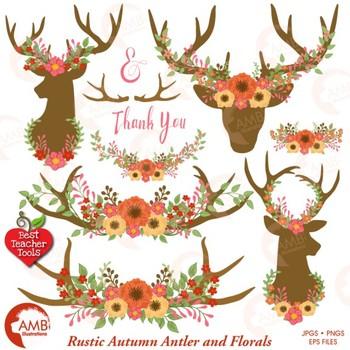 Deer Clipart, Antler Clip Art, Floral Clipart, Rustic Wedding, AMB.
