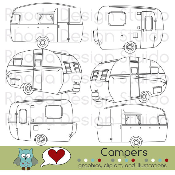 Vintage Campers Digital Clip Art Retro Camp Trailers stamps.