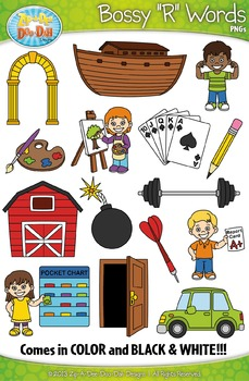 Bossy R Words / R Controlled Vowels Clipart {Zip.