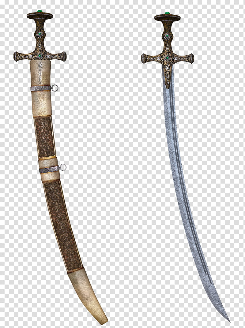 UNRESTRICTED Sword with Scabbard, two gray handled sabers.