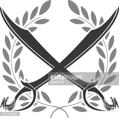 Dragon Sabers and Laurel Wreath premium clipart.
