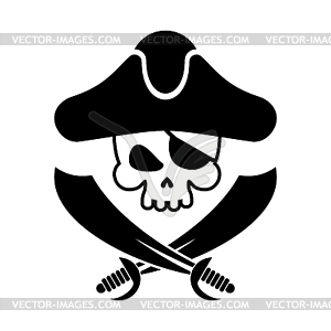 Pirate skull logo. head of skeleton and sabers..