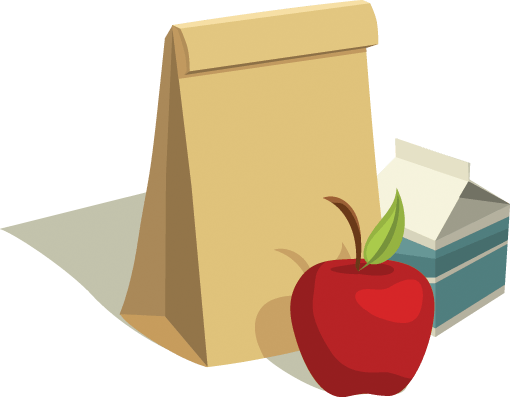 Sack Lunch With Apple and Milk Carton.