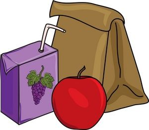 Sack lunch, juice box and apple.