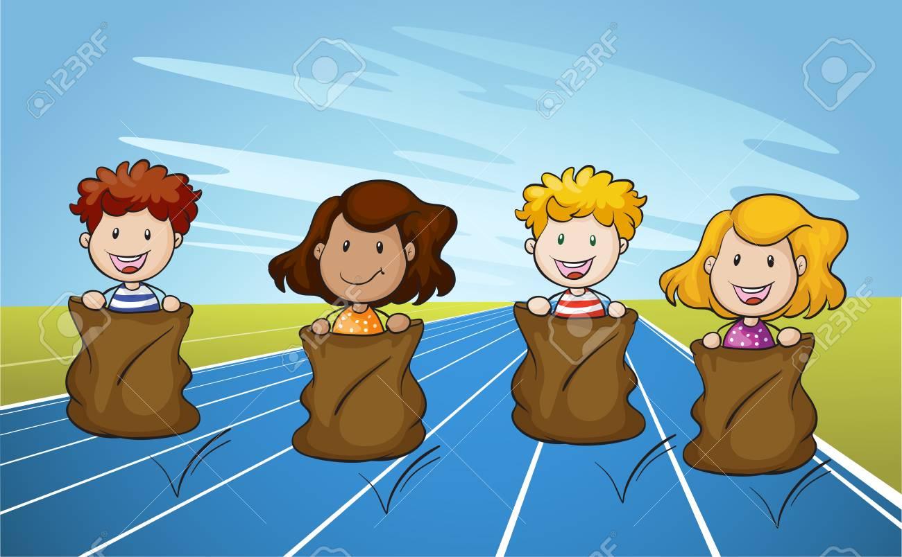 Jumping Sack Racing on Running Track illustration.