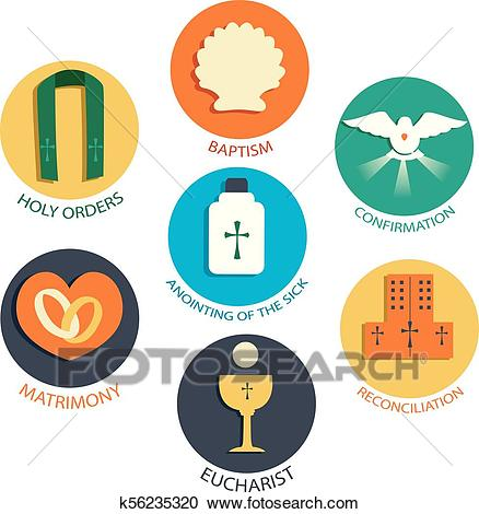 Seven Sacraments Elements Illustration Clipart.