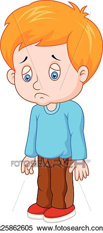 Cartoon sad boy Clipart.