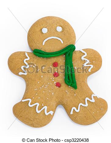 Pictures of Sad gingerbread man with scarf and buttons csp3220438.