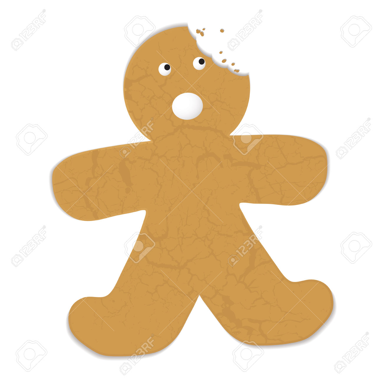 Gingerbread Man With A Bite Out Of His Head And Startled.
