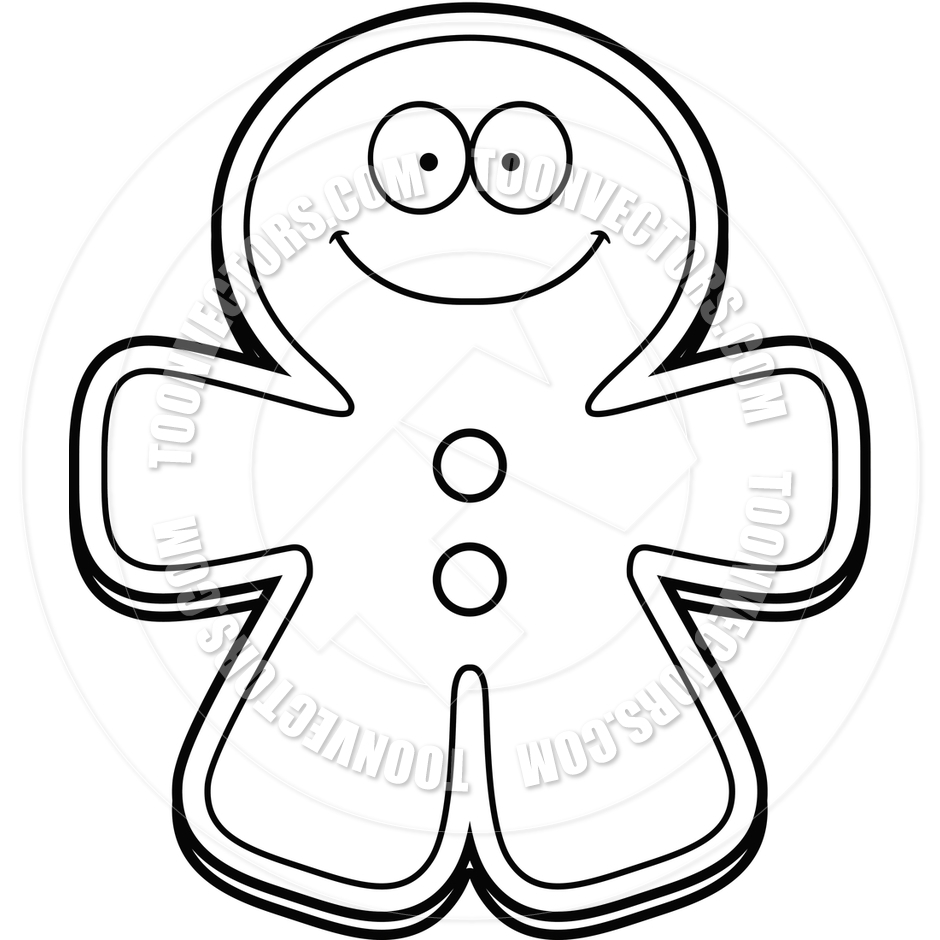 Gingerbread Man Black And White Clipart#2041467.