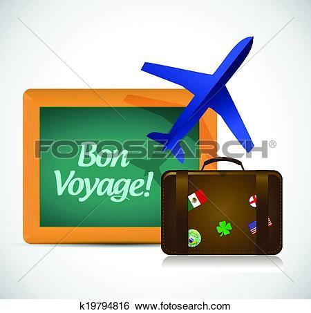 Clip Art of bon voyage or safe trip travel illustration design.