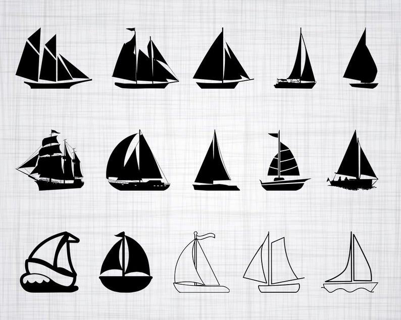 Sailboat SVG Bundle, Sailboat SVG, Sailboat Clipart, Sailboat Cut Files For  Silhouette, Files for Cricut, Vector, Svg, Dxf, Png, Eps, Design.