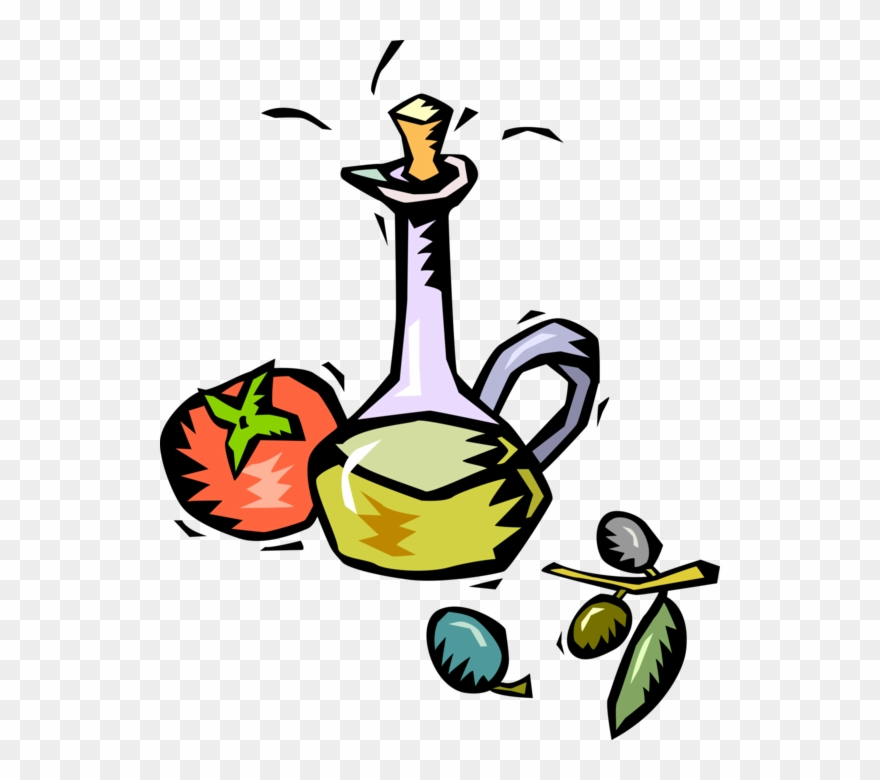 Vector Illustration Of Salad Dressing Oil With Tomato.