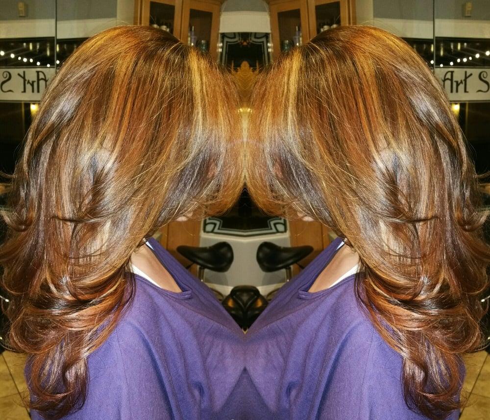 Copper/Mahogany/Auburn/Gold Balayage By Vickie Padilla.