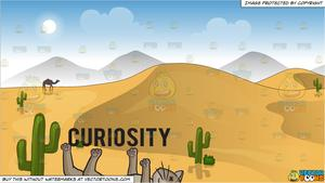 Curiosity Killed The Cat and Sand Dunes In The Desert Background.