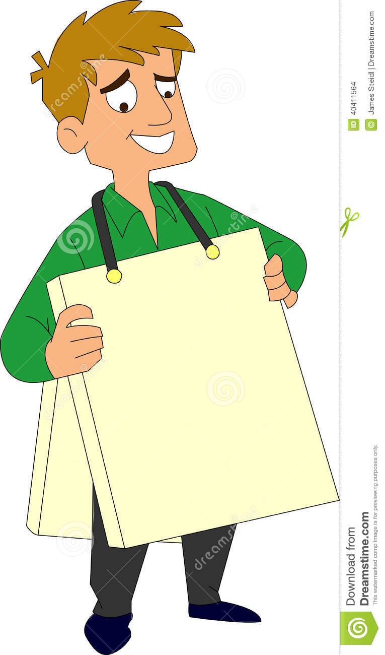 Man With A Sandwich Board Stock Vector.