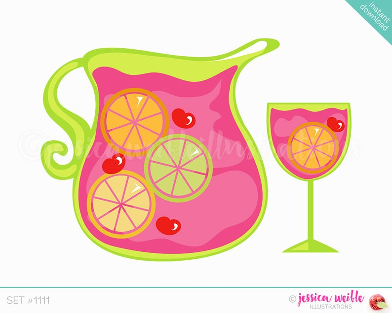 Instant Download Sangria Cute Digital Clipart, Sangria Drink Clip art,  Pretty Fruity Drink Graphics, Fruity Drink Illustration, #1111.