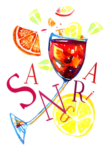 Best Red Sangria Illustrations, Royalty.