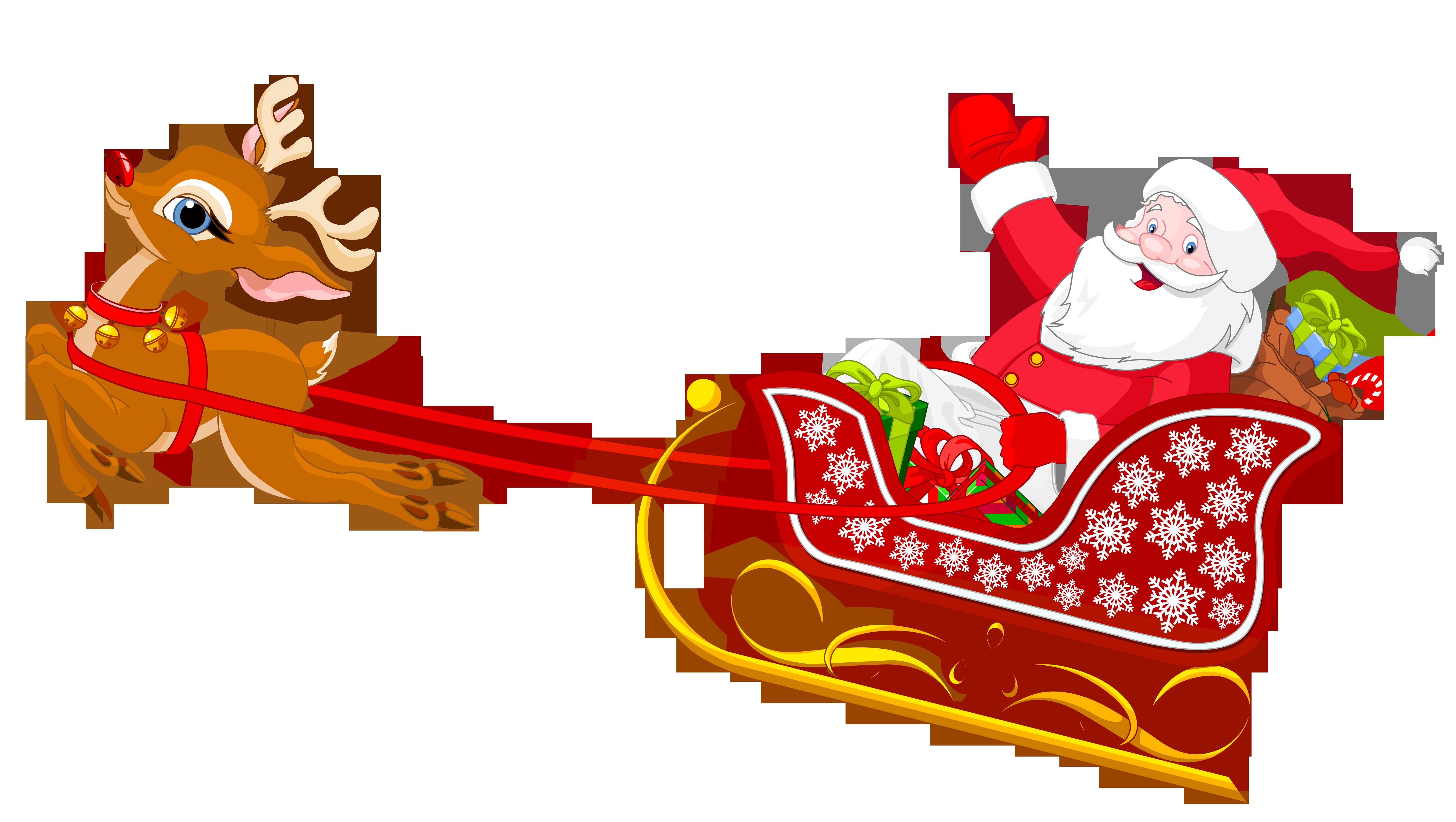 Santa And Reindeer Clip Art.