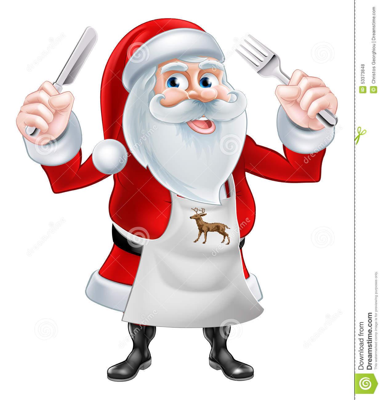 Santa Cook Christmas Dinner Concept Stock Photo.