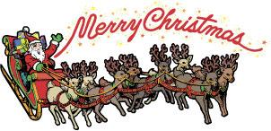 Christmas santa and reindeer clipart.