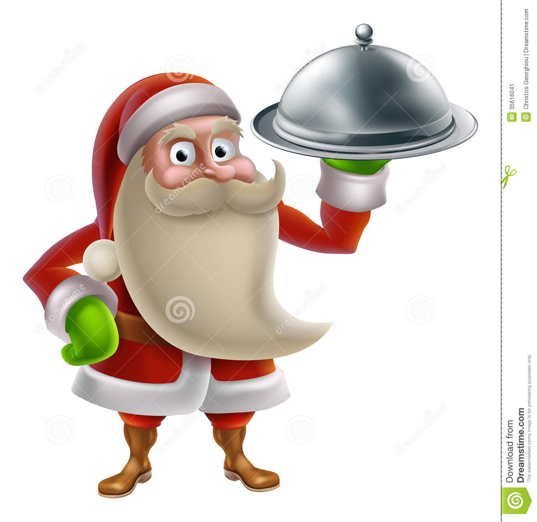 Cartoon Santa Cooking Christmas Dinner Stock Image.