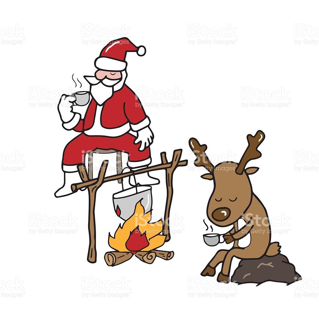 Christmas Santa And Reindeer Drinking Coffee stock vector art.