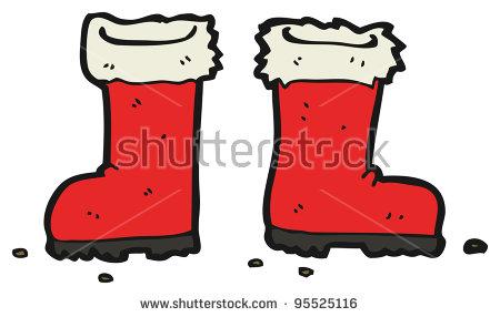 Santa Claus Boots Cartoon (Raster Version) Stock Photo 95525116.