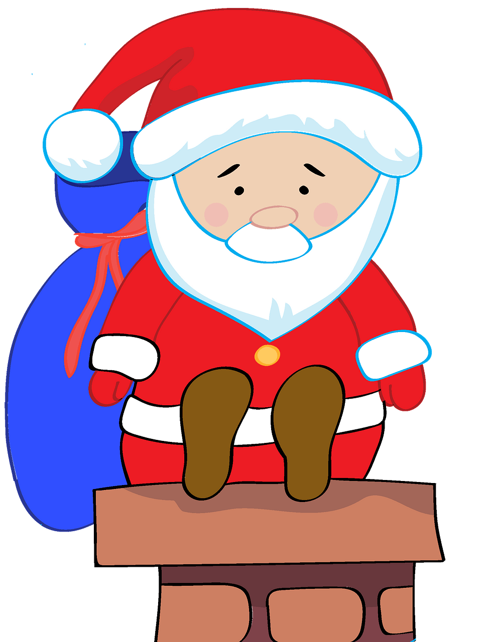 Santa Claus on a chimney clipart. Free download..