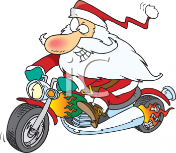 Santa Riding a Motorcycle.