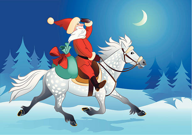 Santa Claus And The Horses Clip Art, Vector Images & Illustrations.