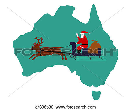 Clipart of Santa Claus riding on his reindeer sleigh high above.