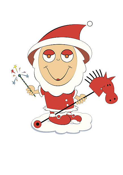 clipart santa claus riding a horse #8