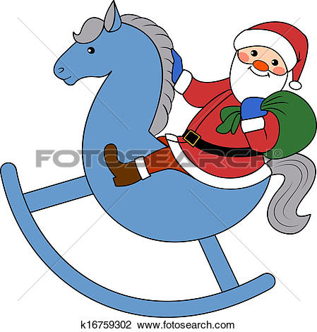 clipart santa claus riding a horse #6