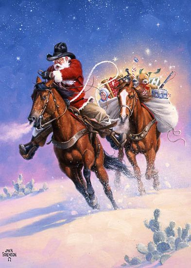 clipart santa claus riding a horse #7