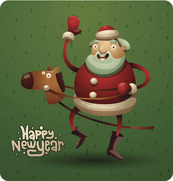 clipart santa claus riding a horse #5