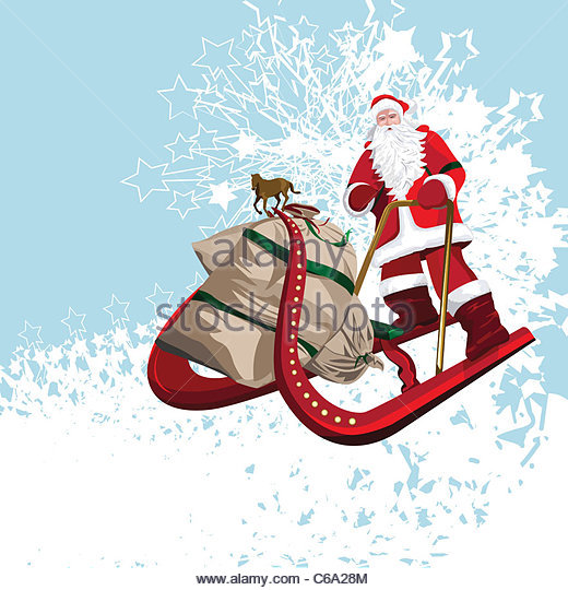 clipart santa claus riding a horse #2