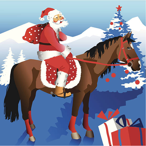 clipart santa claus riding a horse #19